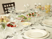 Banquet table with snacks Stock Image
