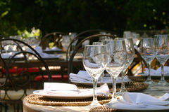 Banquet table in South afrika. With glasses and napkins under a big tree Royalty Free Stock Photography