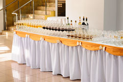 Banquet Table With Alcohol Drinks Royalty Free Stock Photos