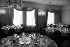 Banquet tables. In the afternoon Royalty Free Stock Photos