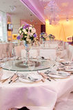 Banquet tables. Perpared for wedding royalty free stock photo