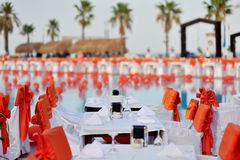 Banquet tables Royalty Free Stock Photography