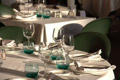 Banquet tables place settings Royalty Free Stock Photo