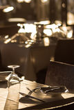 Banquet Tables Setting at Reception Stock Image