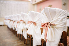 Banquet wedding chairs setting on evening reception Royalty Free Stock Image