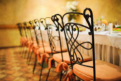 Banquet wedding chairs setting on evening reception Stock Images