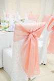 Banquet wedding chairs setting on evening reception Stock Photos
