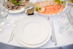 Banquet wedding table setting Royalty Free Stock Photography