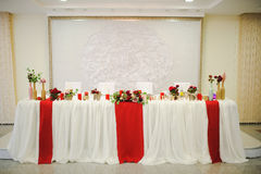 Banquet wedding table setting Stock Photo
