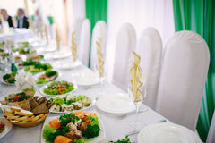 Banquet wedding table setting Stock Photos