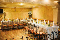 Banquet wedding table setting on evening reception Stock Photography