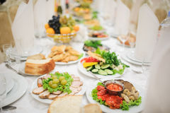 Banquet wedding table setting on evening reception Royalty Free Stock Photography