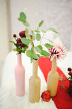 Banquet wedding table setting flowers Stock Photo