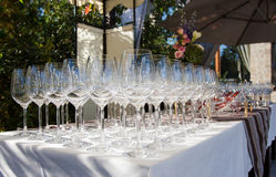 Banquet wineglasses Royalty Free Stock Photo