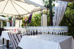 Banquet wineglasses Stock Photography