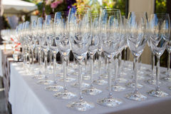Banquet wineglasses Royalty Free Stock Images