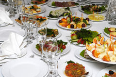 Banquet With Snacks On Tables Royalty Free Stock Photos