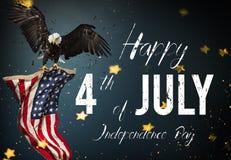 Banquete americano el 4 de julio Águila calva con el indicador americano stock de ilustración