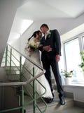 Banquete de boda La mirada de novia y del novio en uno a Imágenes de archivo libres de regalías