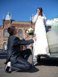 Banquete de boda La mirada de novia y del novio en uno a fotografía de archivo