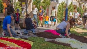 Banquete de Corpus Christi de la alfombra de la flor de la ciudad de Garriga del La Imagen de archivo