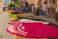 Banquete de Corpus Christi de la alfombra de la flor de la ciudad de Garriga del La Foto de archivo