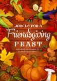 Banquete de Friendsgiving, cena del potluck de la acción de gracias stock de ilustración