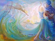 Banquete de la música y naves en Douarnenez Pintura al óleo en lona Imagen de archivo libre de regalías
