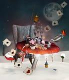 Banquete del país de las maravillas inspirado por Alicia en el país de las maravillas TA ilustración del vector
