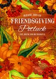 Banquete del potluck de Friendsgiving, tema de la acción de gracias libre illustration