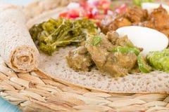 Banquete etíope - Injera imagenes de archivo
