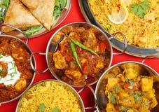 Banquete indio de la comida del curry Foto de archivo libre de regalías