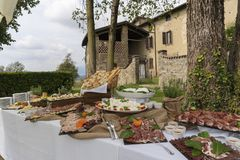 Banquete italiano del chalet Foto de archivo libre de regalías