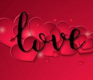 Banquete manuscrito de la multa del amor de la inscripción en un fondo de corazones rojos Fotografía de archivo