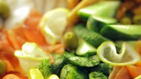 Banquete: primer de la fruta, de los pescados y de la carne almacen de video