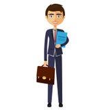 Banquier avec l'illustration plate de bande dessinée de documents illustration stock