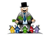 Banquier avide avec de l'argent et des Chambres illustration libre de droits