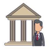 Banquier d'homme d'affaires dans les lignes bleues d'avatar d'édifice bancaire illustration de vecteur
