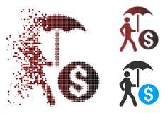Banquier de marche tramé With Umbrella Icon de pixel mobile illustration stock