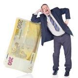 Banquier idiot faisant confiance à l'euro photo libre de droits