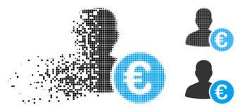Banquier tramé déchiqueté Icon de Pixelated euro illustration de vecteur