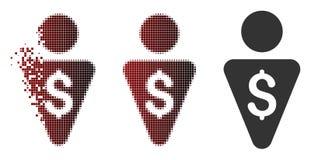 Banquier tramé décomposé Icon de pixel illustration stock