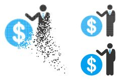 Banquier tramé décomposé Icon de Pixelated illustration de vecteur
