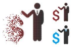 Banquier tramé détruit Icon de pixel illustration de vecteur