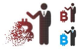Banquier tramé de désintégration Icon de Bitcoin de pixel illustration libre de droits
