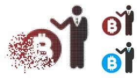 Banquier tramé endommagé Icon de Bitcoin de pixel illustration de vecteur
