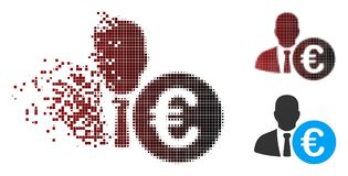 Banquier tramé endommagé Icon de pixel euro illustration libre de droits