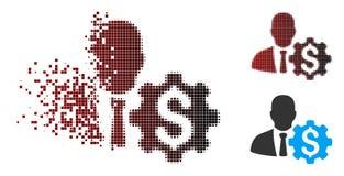 Banquier tramé Options Gear Icon de pixel cassé illustration de vecteur
