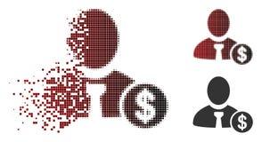 Banquier tramé réduit en fragments Icon de Pixelated illustration stock
