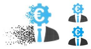 Banquier tramé rompu Icon de pixel euro illustration stock